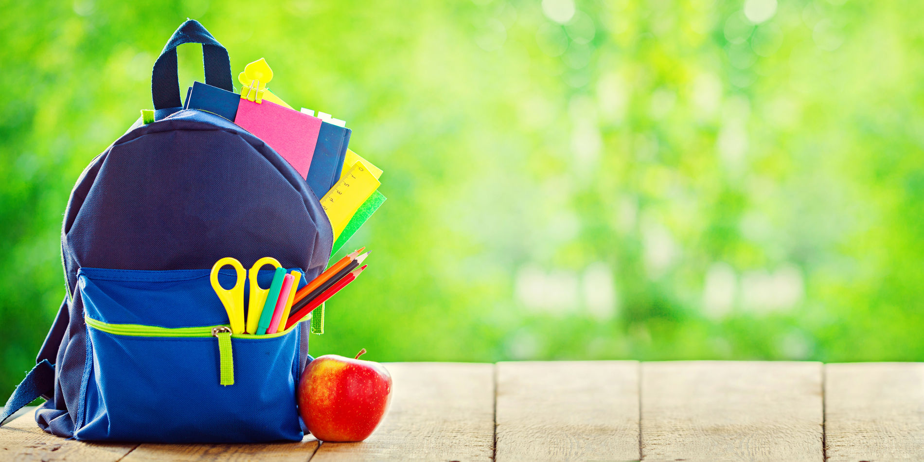 Banner. Full School backpack with apple on wooden and nature green background
